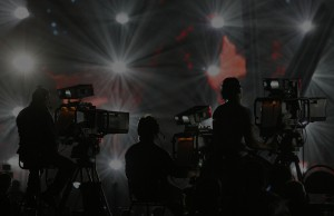 Cameramen film a rehearsal for the Eurovision Song Contest in Moscow May 5, 2009. REUTERS/Sergei Karpukhin (RUSSIA ENTERTAINMENT)